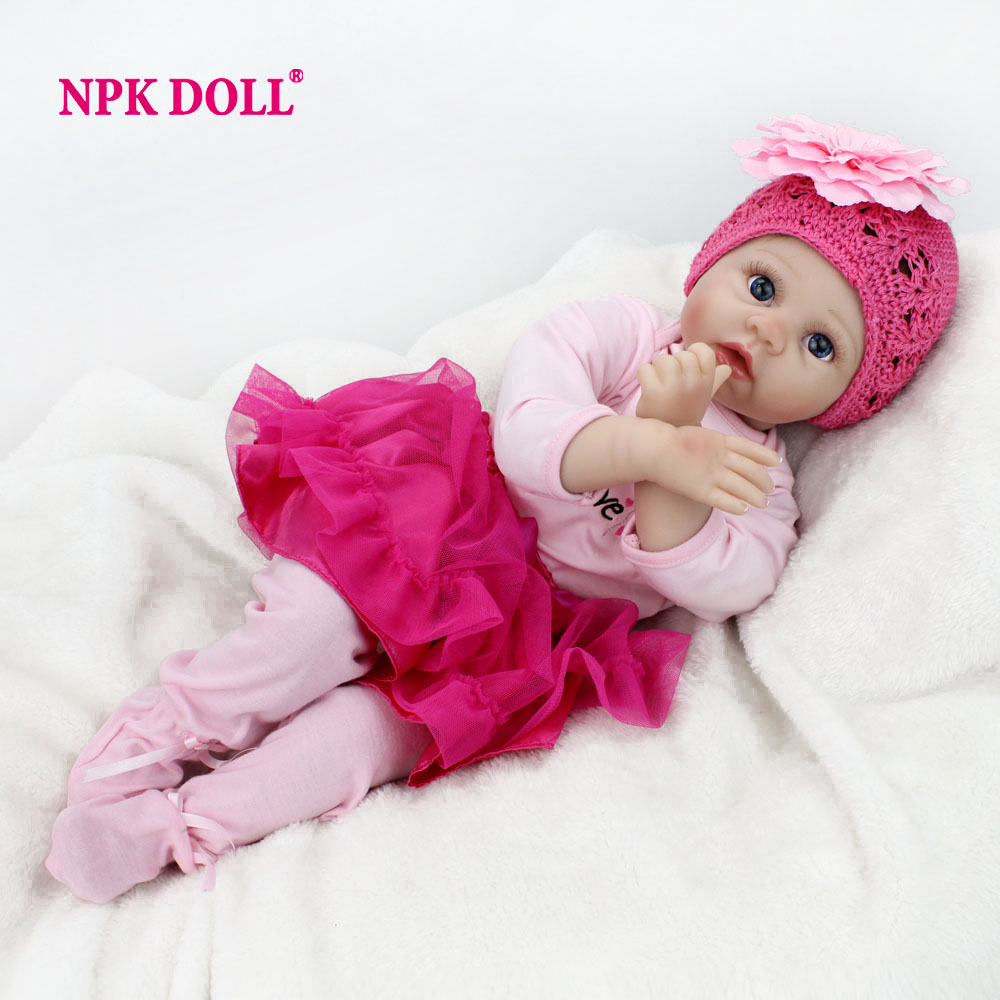 "NPKDOLL 22"" 55 cm Handmade Doll Reborn Lifelike Soft Silicone Reborn Baby Dolls For Girls Kids Birthday Gifts Russia Delivery(China (Mainland))"