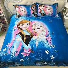 100% cotton 3D Brand Bedding Sets Elsa Anna flowers Bedclothes Quilt Cover Bed line set Queen size Kids Bedding Bed Sh(China)