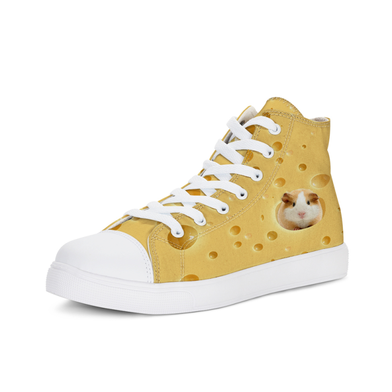 Hamster with cheese Funny Animal Cat 3D Sneaker Vulcanized Shoes Men Leopard High-top Flat Women Lace-up Sneakers Tenis Feminino