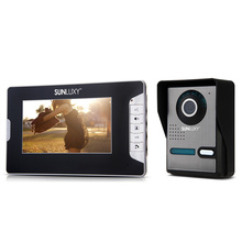 SUNLUXY 7'' TFT LCD Video Intercom Door Phone Doorbell IR Night Vision System 1-Camera 1-Monitor Kit for Home Security