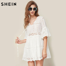 SHEIN Tie Neck Fluted Sleeve Eyelet Embroidered Smock Dress Boho Summer V Neck Three Quarter Length Sleeve A Line Dress