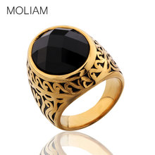 MOLIAM Mens Rings Black/Blue Stones Jewelry Stainless Steel Texture Engraving Floral Ring SZ 8-12 MLBR074/MLBR075