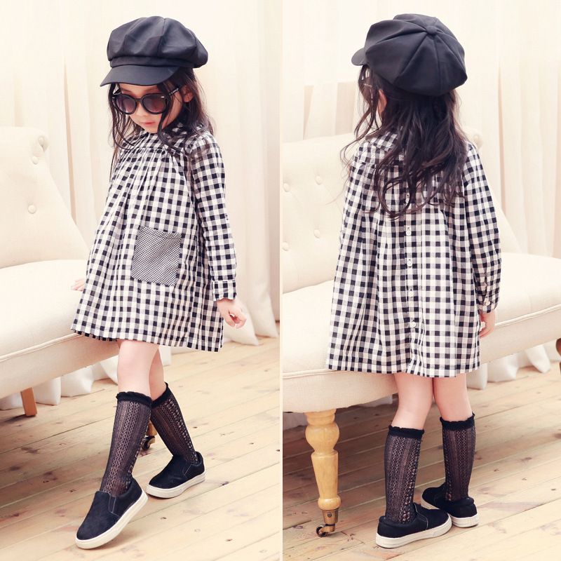2017 New Arrival Autumn Spring Girl Babies Black and White Plaid Full Sleeve Dress Girl Clothes Kids Clothes<br><br>Aliexpress