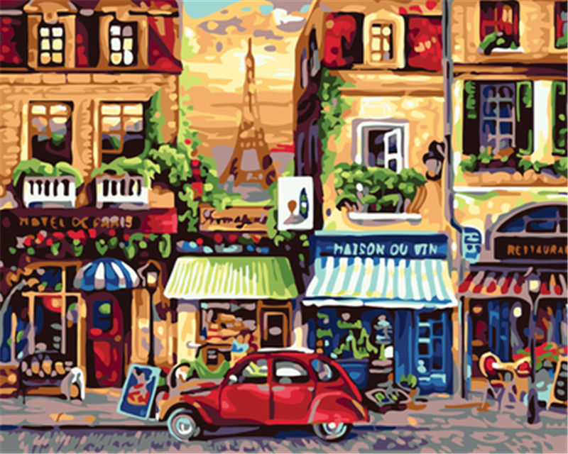 HQ Champs Elysees Paris Painting By Number Paint On Canvas Acrylic Coloring Painitng By Numbers drawing pictures Home Decoration(China)