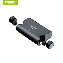 2017 Sago bluetooth earphone X2T earbuds mini true wireless earphone with charger box Bluetooth 4.2 headphone for iphone android(China)