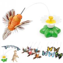 2017 Funny Pet Cat Kitten Play Toy Electric Rotating Butterfly bird Steel Wire Cat Teaser For Pet Kitten Toys