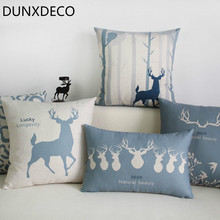 DUNXDECO Cushion Cover Decorative Pillow Case Nordic Antique Grey Blue Deer Linen Cotton Print Coussin Sofa Decoration(China)