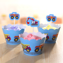 24pcs/lot City Construction Tool Cupcake Wrappers Toppers Kids Birthday Party Cake Decorating(12 wraps+12 topper)(China)