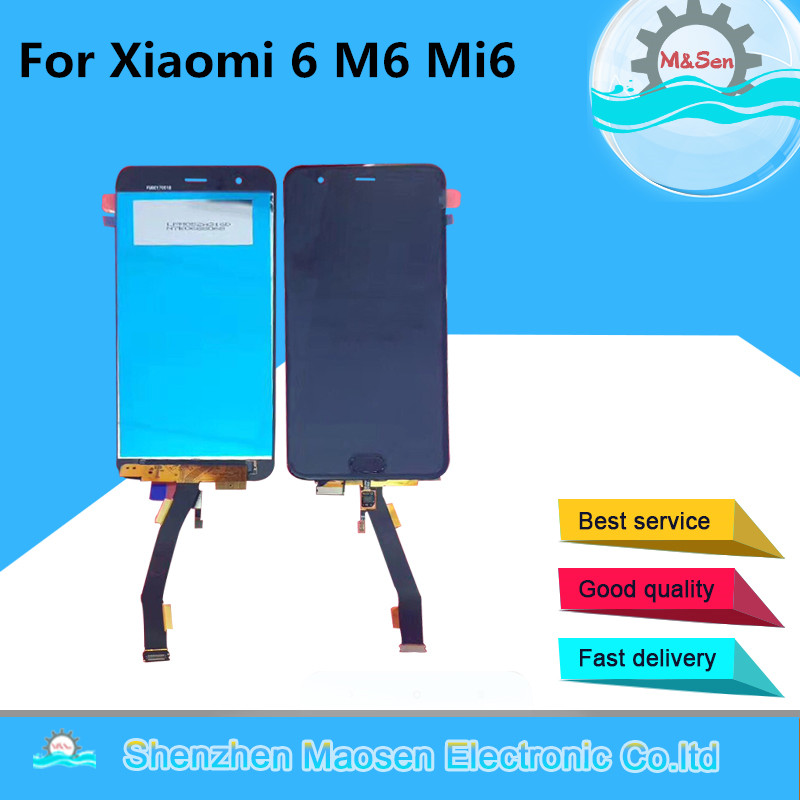 M&Sen For 5.15″ Xiaomi 6 M6 Mi6 with fingerprint LCD screen display + Touch panel digitizer White/Blue/Black Free shipping