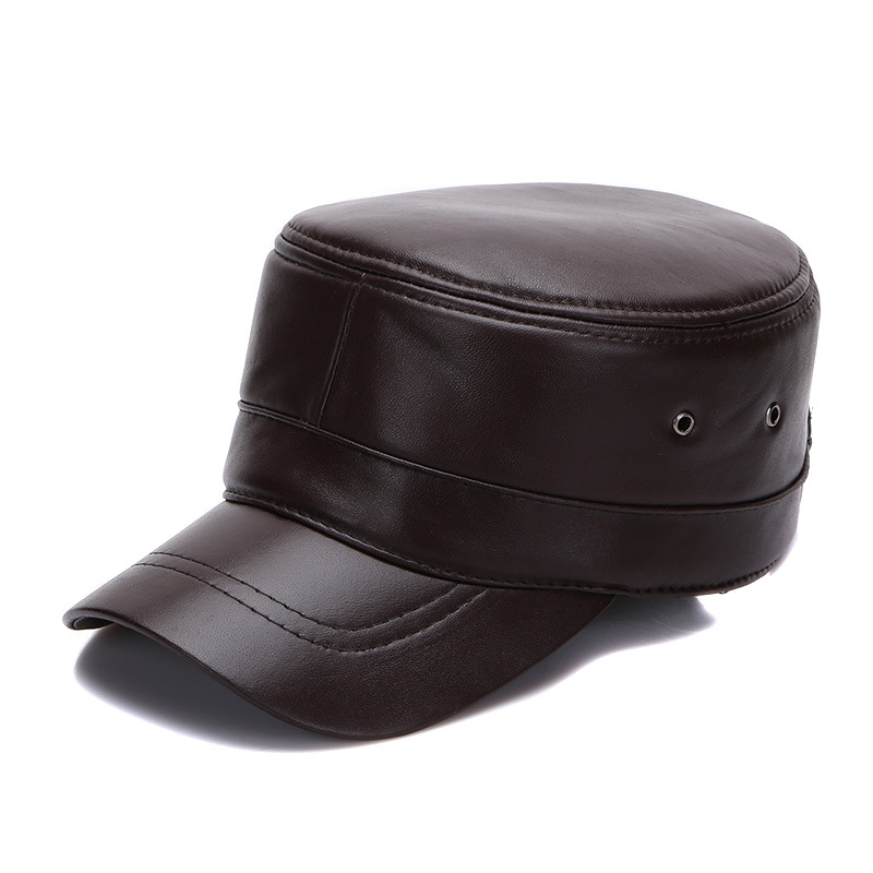 Fibonacci High Sheepskin Leather Military Cap Autumn Winter Flat Hats Men Women