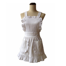 Women Kitchen Apron White Cotton Japanese Style Elegant Ruffled Adult Cosplay Avental Tablier de Cuisine Pinafore Short Apron