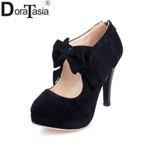 New Arrivals Big Size 30-47 Fashion Platform High Heels Women Pumps Spring Summer Bowtie Wedding Party Shoes Woman(China)