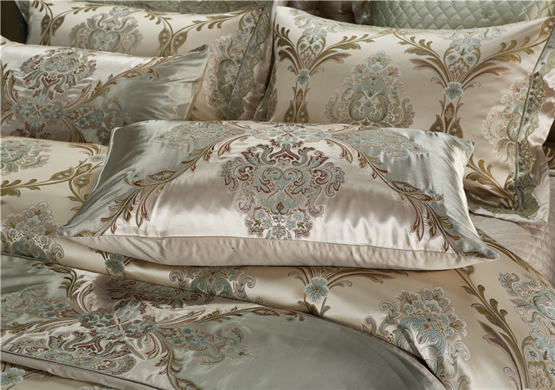 Luxury Bedding Set, Silk Satin Jacquard Bedding Set, Queen, King, Duvet Cover,Bed Linen Flat Sheet Set 20