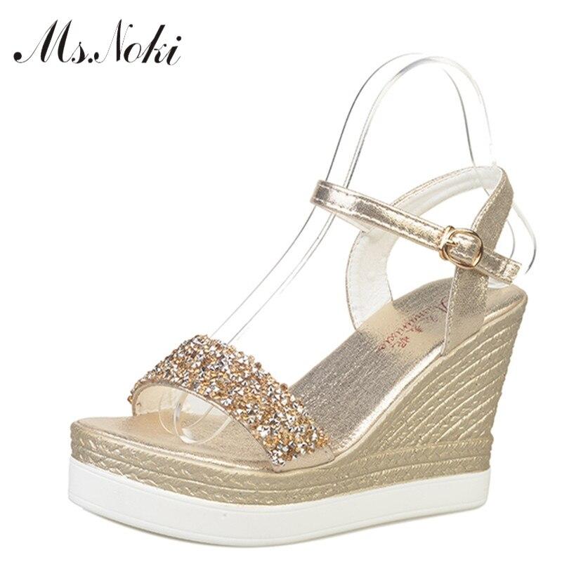 Ms.Noki shinning glitter silver gold platform high heels wedges women sandals 2017 summer ladies open toe casual shoes pumps<br><br>Aliexpress