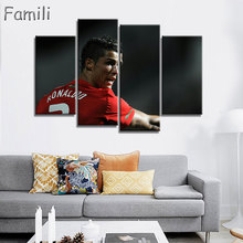 4 Piece Cristiano Ronaldo Football Picture Painting on Canvas for Wall Art Home Decoration Living Room Canvas Print Painting
