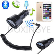 DOXINGYE,Wireless Bluetooth Car Kit Handsfree Call 3.5MM AUX Adapter USB Car Charger For Phone IPAD IPOD MP3(China)