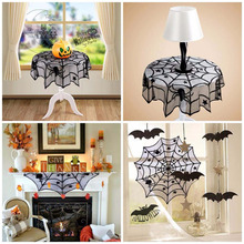 30/40 inch Halloween Lace Polyester Spider Web Tablecloth Round Table topper Covers Halloween Table Decoration Fireplace Scarf