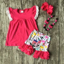 Girls Summer clothes girls children flutter lace sleeve outfits hot pink top house ruffle shorts with accessories