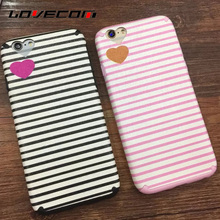 LOVECOM For iPhone 6S 7 Plus Cases Dual Layer Black & Pink Stripe Phone Case Heart Camera Window Soft TPU Back Cover Coque Shell
