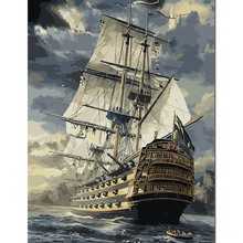 Diy painting by numbers hand painted canvas oil paintings Big ship living room wall canvas art decoration paintings wall decor(China)