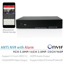 ANTS 9CH 5MP, 16CH 3MP, 25CH 960P Onvif NVR with AEEye and Goolink P2P App live view and playback,2CH Alarm in and 1CH Alarm out
