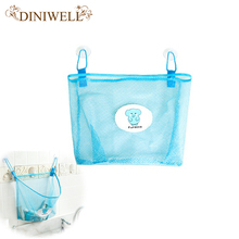 DINIWELL Polyester Transparent Cartoon Bathroom Sucker Hanging Storage Mesh Bag Toys Cosmetics Organizer