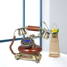 Wood Retro Vintage Corded Landline Phone Home Desk Telephone Decor with Backlight Display Push Button Long Curly Handset Cord(China)