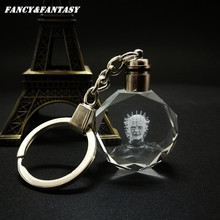 Fancy&Fantasy Terror Hellraiser Crystal Key Ring Intelligent Crystal Flash LED Discoloration Light Keychain Gift K-234(China)