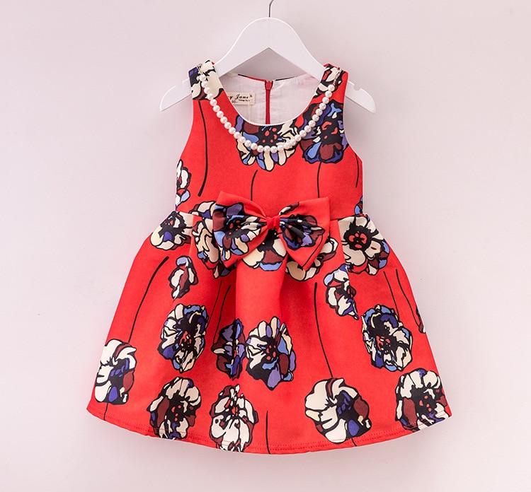 Noble! 2017 summer new flower print girls wedding dress red sleeveless infant party dress suit 2-8T  vestido infantil <br><br>Aliexpress