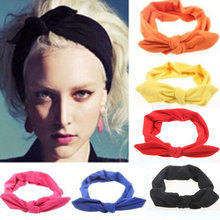 1Pcs Fashion Bowknot Hair Bands Headbands Elastic Stretch Rabbit Twisted Knotted Turban Hairdressing Accessories Styling Tools(China)