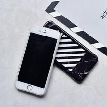 Brand Black Stripe Square Marble black White IMD Case For iphone 6 6s Plus cover for iphone X 7 8 Plus off on Marble Coque Funda(China)