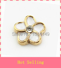 Hot selling gold plating white plumeria flower floating charm living glass floating memory lockets