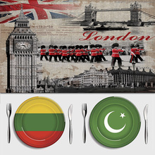 Maiyubo Retro London Big Ben Dinner Dishware Placemat Knife Fork Bowls Coasters Cotton Linen Place Mat Kitchen Accessories PM006(China)