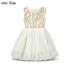 New 2017 Kids Sequins Girl Dress Lace Tutu Dresses For Toddler Girls Events Birthday Party,Children Dresses Baby Girls Dress(China)