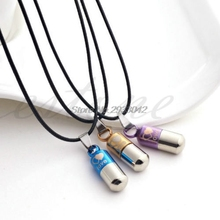 Delicate Pill Capsule / Perfume Bottle Design Titanium Steel Necklaces & Pendants for Men Women Couples Lovers -W128(China)