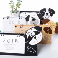 2018 Bowwow Happy Dog Mini table calendars desk planner agenda calendar paper Stationery Office School Supplies 2017.7~2018.12(China)