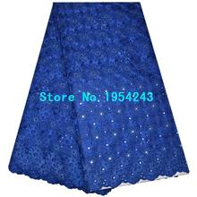 Blue color African Swiss Voile Lace High Quality Eyelet Cotton Swiss Lace Material Latest African Swiss Lace Fabric With Stone