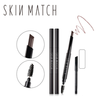 Brand SKIN MATCH 2 in 1 Waterproof Auto Eyebrow Pencil+Eyebrow Brushes Tools 3 Colors Brow Eye Definer Makeup Eyebrow Enhancer(China)