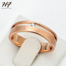 Top Quality Simple Wire Drawing Process Rose Gold Color Lover's Ring Austrian Crystal Full Sizes Wholesale R433 R434