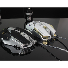 Wired USB Ergonomic Mouse Computer Mouse7 buttons breathing lights 7 colors Gaming 4 adjustable DPI Optical Mice White Black(China)