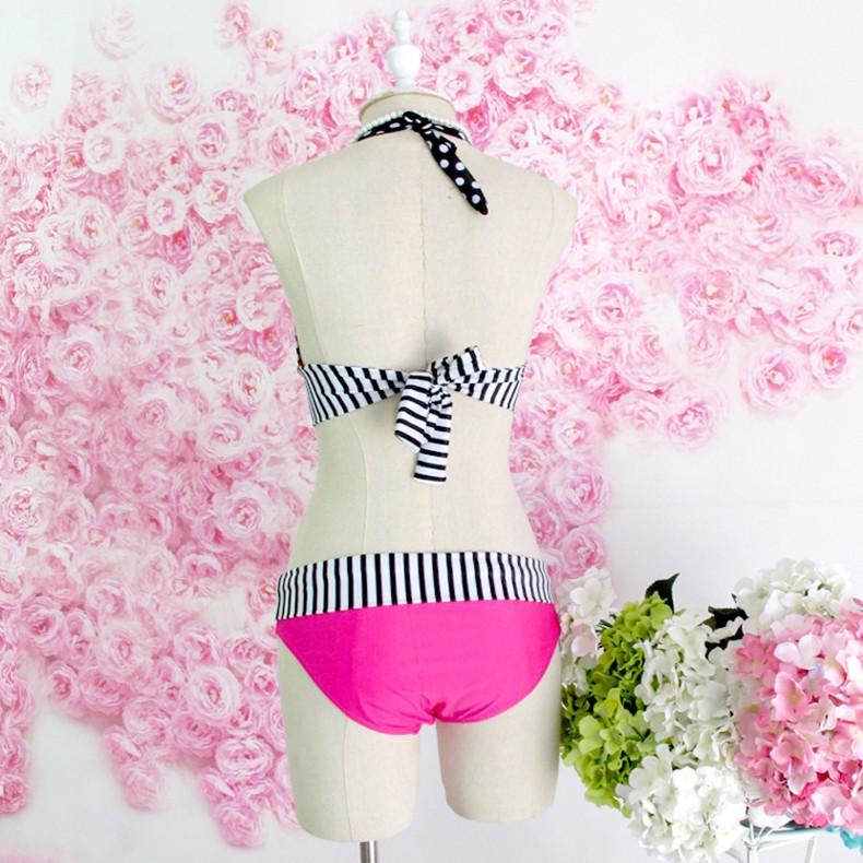 StarHonor Woman Brazilian Retro Polka Dot Halter Two-piece Suits Bra Bikinis Set Stripe Bathing Suit Swimwear Plus Size S-4XL 11