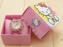 Fashion Women Crystal Cartoon Watch Hello Kitty Watch Girls Kid Casual Quartz Wristwatch and box Reloj kt002