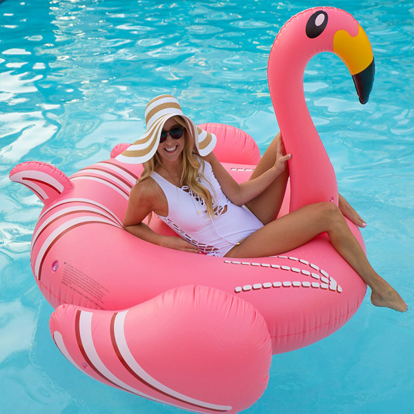 190CM-75-Inch-Giant-Inflatable-Flamingo-Pool-Float-2017-Pink-Cute-Ride-On-Swimming-Ring-For