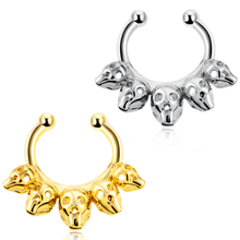 1Pc  Nose Rings Hoop  Copper Septum Clicker Hinged Five Skulls Nose Ring  Gauges Nose Piercing Body Jewelry