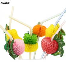FGHGF 50PCS/Lot 3D Fruit Cocktail Paper Straws Umbrella Drinking Straws  Novelty Party Decoration Color Assorted Eco- friendly
