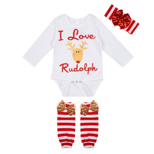 Long-sleeved Children Romper Christmas Baby Garments Leg Protection Warm Outfits (Top+ Knee Pad+ Headdress) Baby  Romper