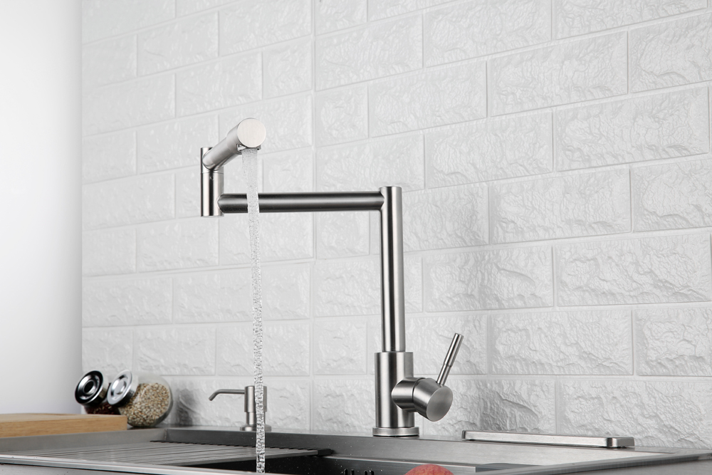 Folding Kitchen Faucet Stretchable Swing Arm Brushed  Single Hole Single Handle Deck Mounted Cold & Hot Kitchen Sink Faucet  (8)