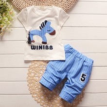 BibiCola summer baby boys clothing sets children summer clothes for boy cartoon horse T-shirt striped pants kids fashion outfits