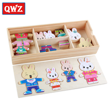 QWZ Cartoon Rabbit Change Clothes Wooden Toy Puzzles Montessori Educational Dress Changing Jigsaw Puzzle Toys For Children Gifts(China)