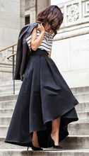 New Fashion Women High Waist Flared Pleated Asymmetric Skirt Maxi Long Skirts Stylish Elegant Formal Skirts Solid Color(China)